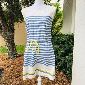 LOFT linen drawstring dress striped white blue 8